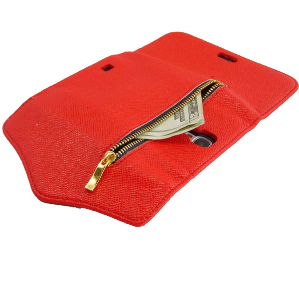Samsung Galaxy S4 Wallet Case with Zipper in Red