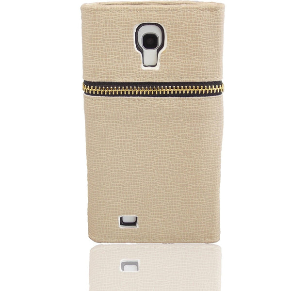 Samsung Galaxy S4 Wallet Case with Zipper in Tan