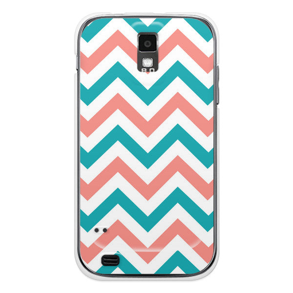 T-Mobile Samsung Galaxy S2 Turquoise Peach Coral Chevron Case