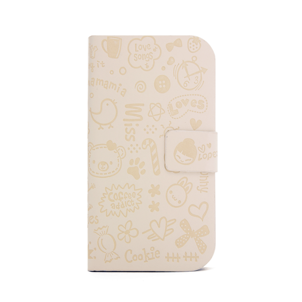 Samsung Galaxy S3 Cartoon Graffiti Wallet Case in Ivory