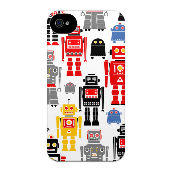 iPhone 4 and iPhone 4s I Love Robots Case by Wittlebee