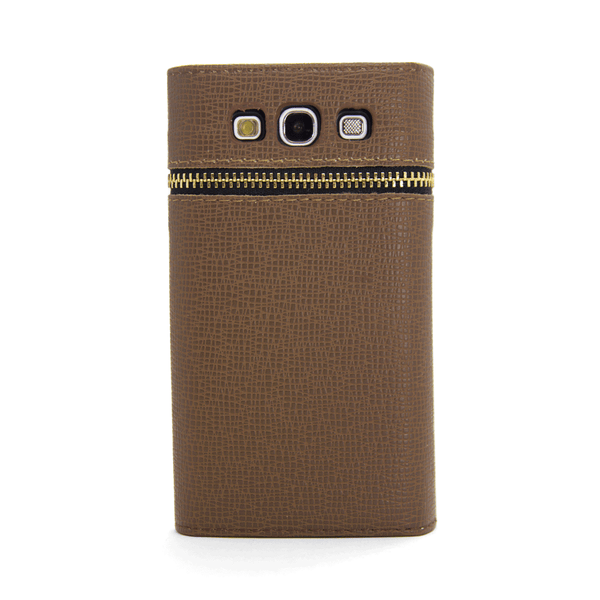 Samsung Galaxy S3 Wallet Case with Zipper in Brown