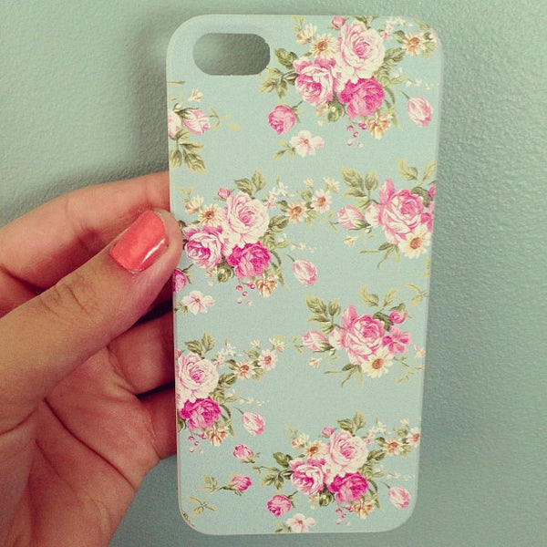 iPhone 5 and iPhone 5s Vintage Floral Baby Blue Case