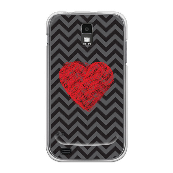 T-Mobile Samsung Galaxy S2 Chevron Heart Case - Chevron Cupid Heart Case
