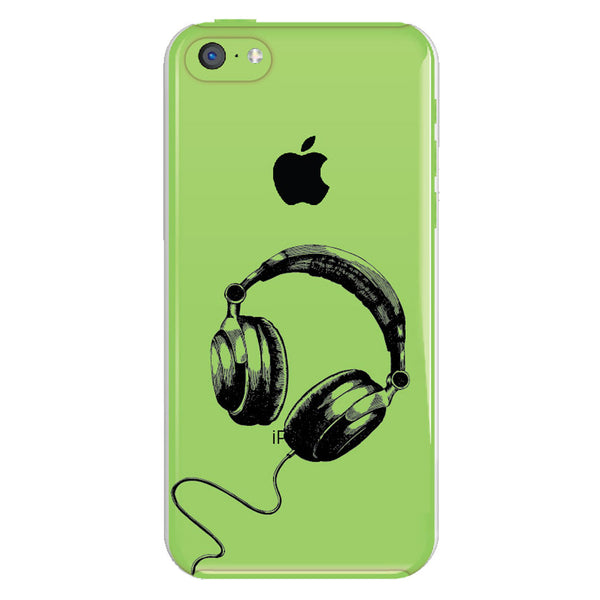 iPhone 5c Headphones Transparent Cap Case