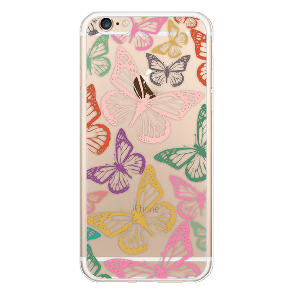 iPhone 6/6s and iPhone 6/6s Plus Rainbow Butterflies Clear Bumper Case