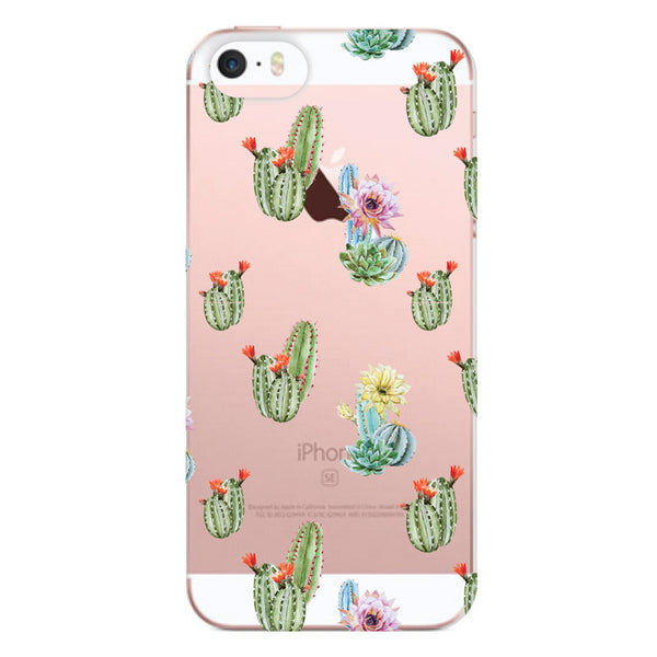 iPhone SE and iPhone 5/5s Cactus Floral Clear Bumper Case