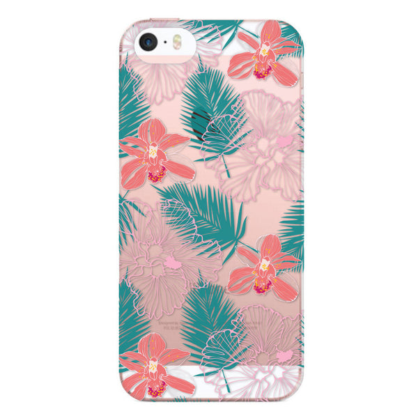 iPhone SE and iPhone 5/5s Hawaiian Florals Clear Bumper Case
