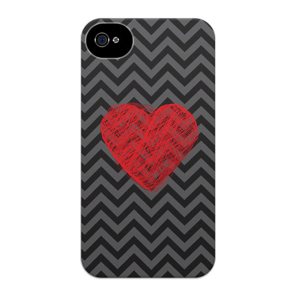 iPhone 4 and iPhone 4s Chevron Heart Chevron Case - Chevron Cupid Case