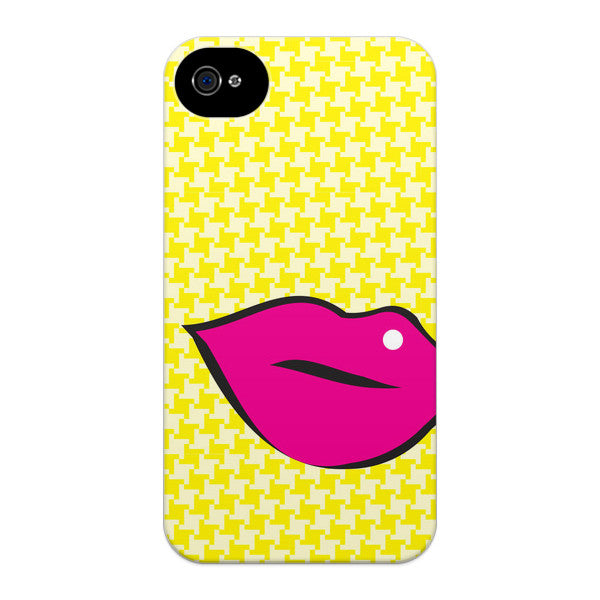 iPhone 4 and iPhone 4S Pink Lips on Yellow Houndstooth Case