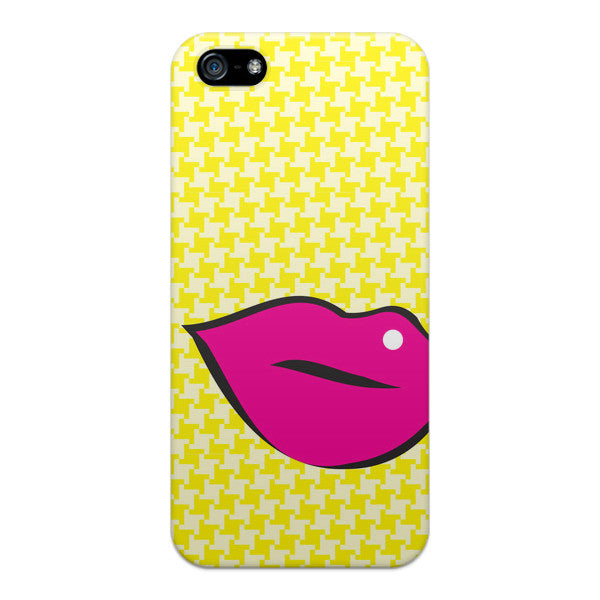 iPhone 5 Pink Lips on Yellow Houndstooth Case