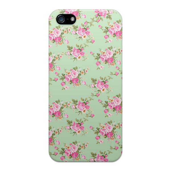 iPhone 5 and iPhone 5s Vintage Floral Mint Green Case