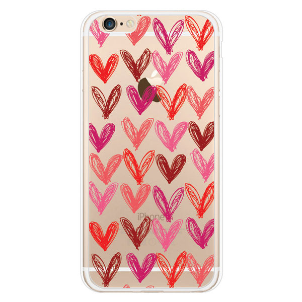 iPhone 6 and iPhone 6 Plus Hearts Clear Bumper Case