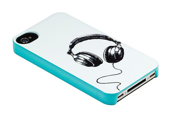 iPhone 4 and iPhone 4s Headphones Design Blue Case - High Tops Jams Case