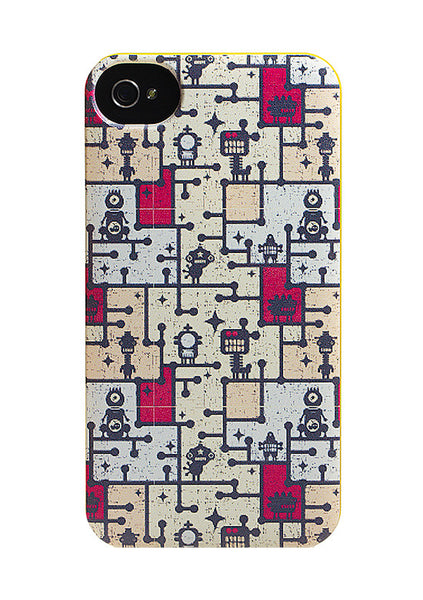 iPhone 4 and iPhone 4s Robots Comics Monster Maze Yellow Case - Attack Maze Case