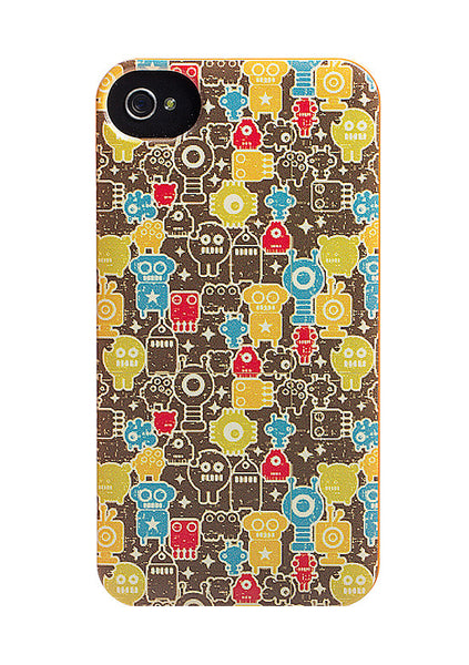 iPhone 4 and iPhone 4s Robot Comics Orange Case - Attack Monstabots Case