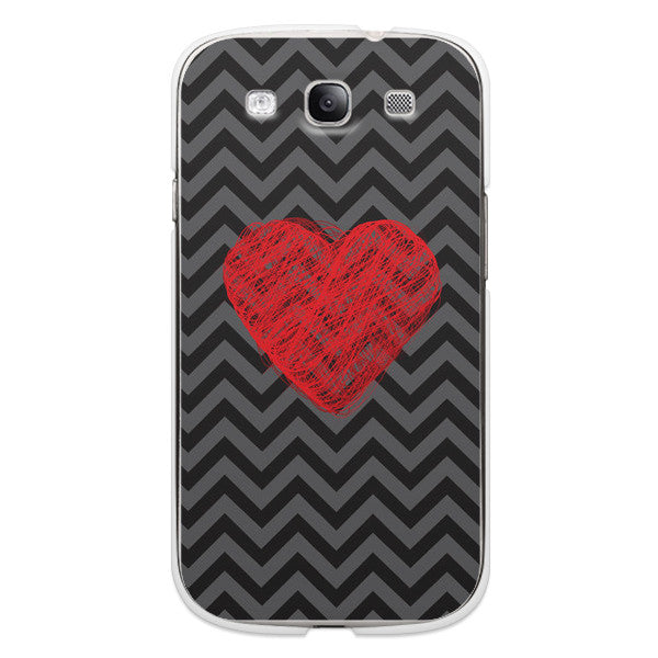 Samsung Galaxy S3 Chevron Heart Case - Chevron Cupid Case