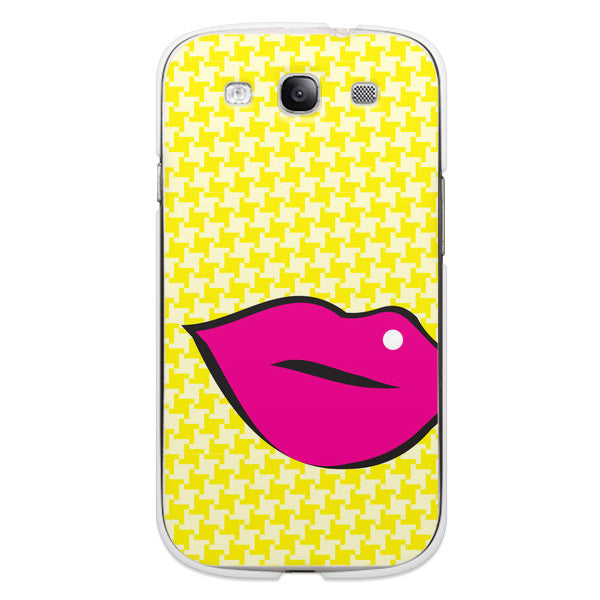 Samsung Galaxy S3 Pink Lips on Yellow Houndstooth Case