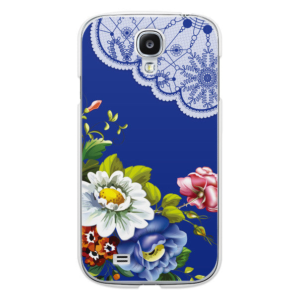 Samsung Galaxy S4 Blue Floral Lace Case - Duchess Harlow Case