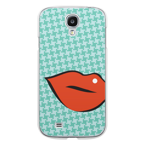 Samsung Galaxy S4 Red Lips on Turquoise Houndstooth Case