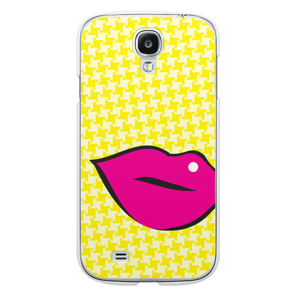 Samsung Galaxy S4 Pink Lips on Yellow Houndstooth Case