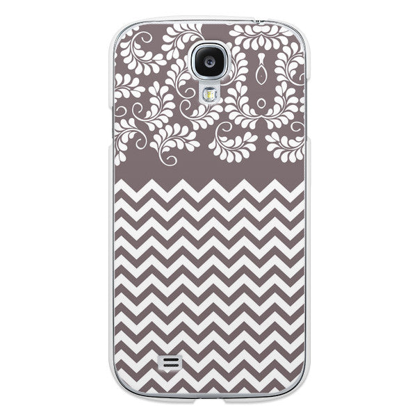 Samsung Galaxy S4 Gray Floral Chevron Case - Chevron Willow Case