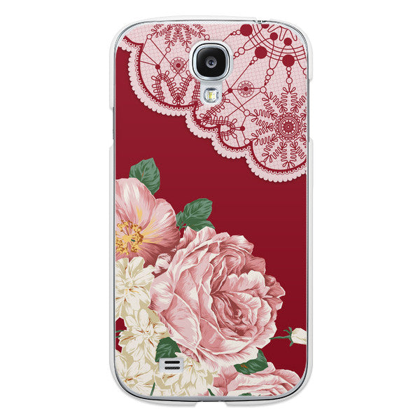 Samsung Galaxy S4 Red Floral Lace Case - Duchess Yeardley Case
