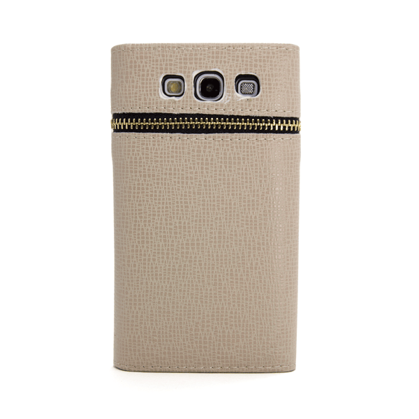 Samsung Galaxy S3 Wallet Case with Zipper in Tan