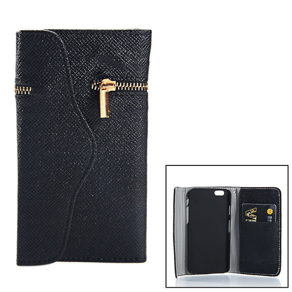 iPhone 4 and iPhone 4s Wallet Case with Zipper in Black