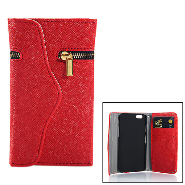 iPhone 4 and iPhone 4s Wallet Case with Zipper in Red