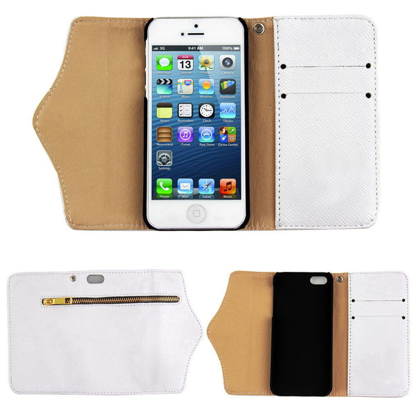 iPhone 4 and iPhone 4s Wallet Case with Zipper in White