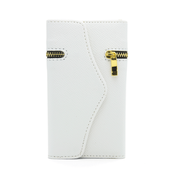 Samsung Galaxy S3 Wallet Case with Zipper in White