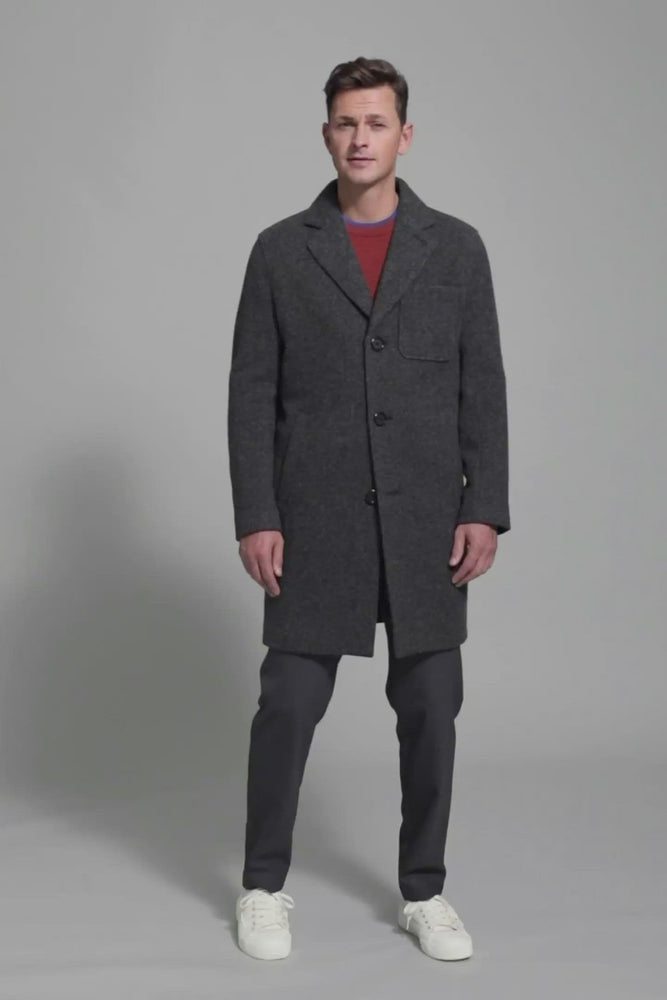 Load and play video in Gallery viewer, FRENN Pyry 100% wool coat grey
