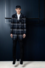 FRENN Pyry wool checked coat blue