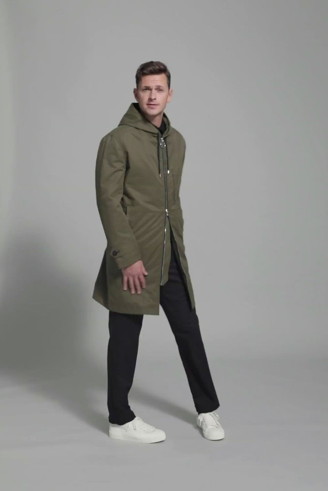 Load and play video in Gallery viewer, FRENN green water and wind repellent parka coat