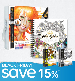 Black Friday Bundle - Chameleon 52 Pen Set, 2x Color Tops & Lori's Coloring Book
