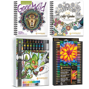 Chameleon Bundle - 22 Pen Deluxe Set, Pencils & Coloring Books