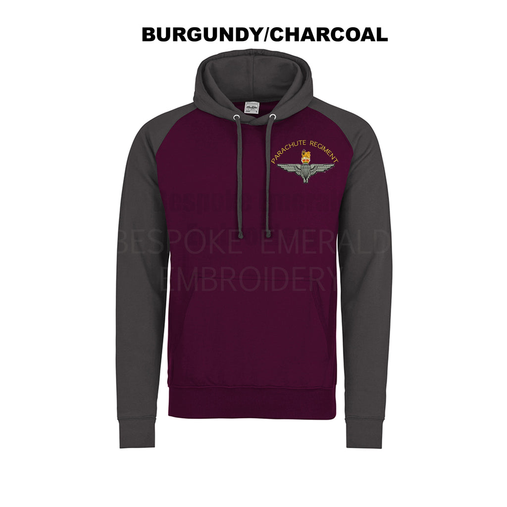 JH009 - Parachute Regiment Contrast Baseball Hoodie - Bespoke Emerald Embroidery Ltd