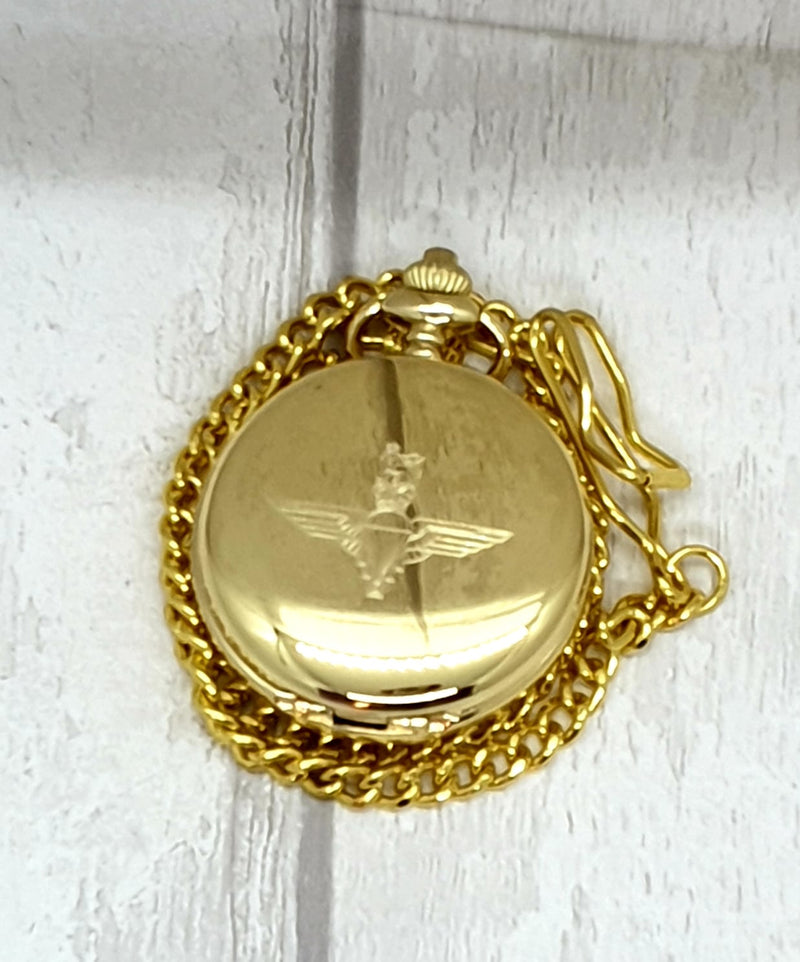 Parachute Regiment - Mechanical Double Half Hunter Gold Plated Pocket Watch