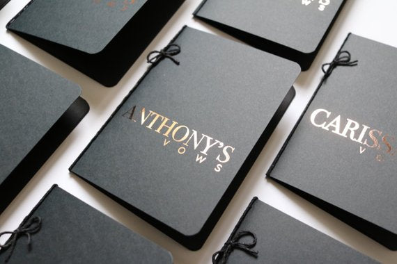 Black Foiled Personalized Wedding Vow books Set of 2