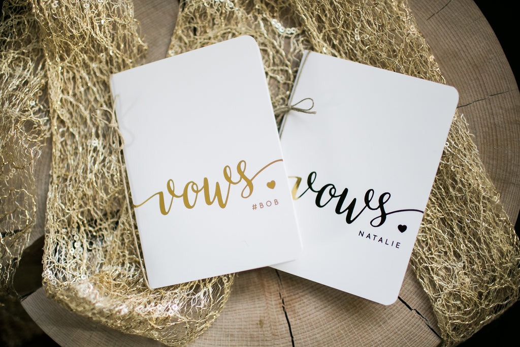 Foiled Heart Personalized Wedding Vow Books Set of 2