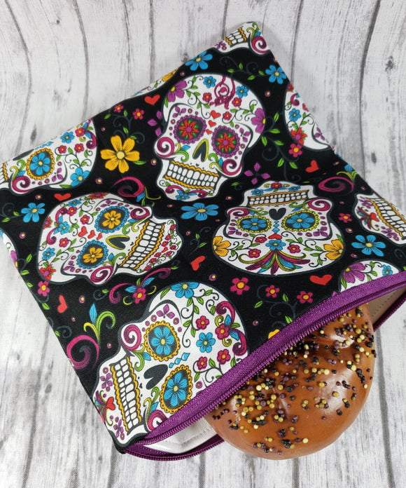 Sugar Skulls in Black Reusable Food Bag - Kool Catz Stuff