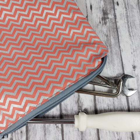 Silver Chevron Reusable Food Bag