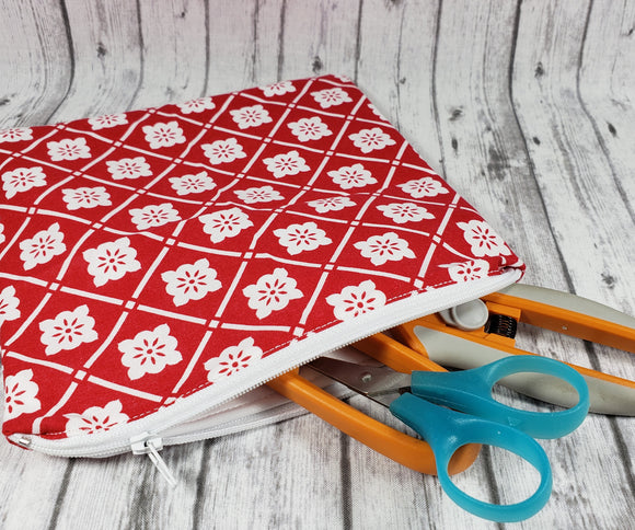 Red and White Lattice Reusable Food Bag - Kool Catz Stuff