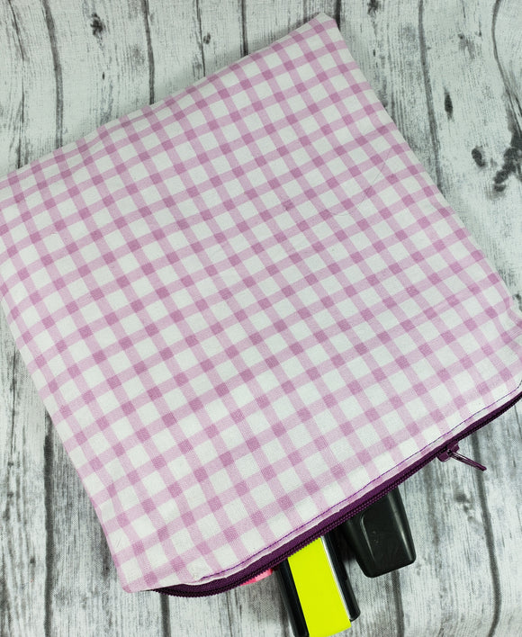 Lilac/Pink Plaid Reusable Food Bag - Kool Catz Stuff