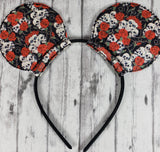 Skull & Red Roses Mouse Ears/Headband - Kool Catz Stuff