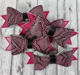 Pink Snakeskin Hair Bow