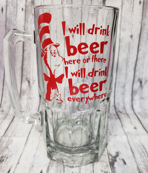 I Will Drink Beer Here or There Liter Beer Mug - Kool Catz Stuff