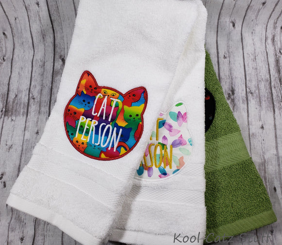Cat Person Applique Hand Towel Design