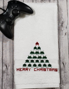 Space Invaders Christmas Tree Hand Towel Design